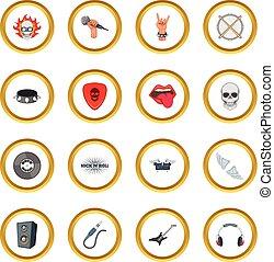 música rock, iconos, círculo