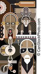 música rock, -, vector, ilustración