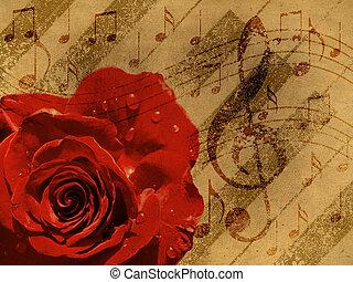 música, rosa, fondo rojo