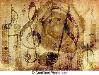 música, rosa, fundo