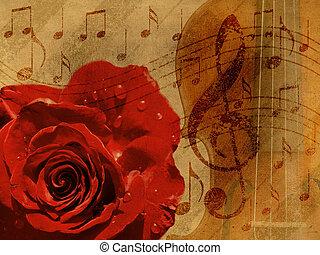 música, rosa, plano de fondo