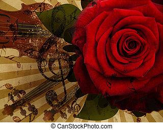 música, rosa, y, violín, plano de fondo