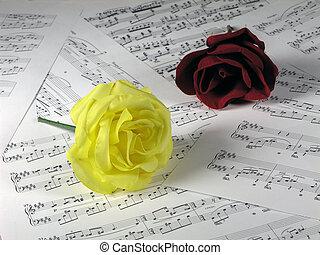 música, rosas