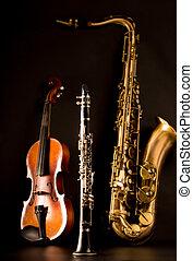 Música,  Sax, saxófono,  tenor,  violín, clarinete, negro
