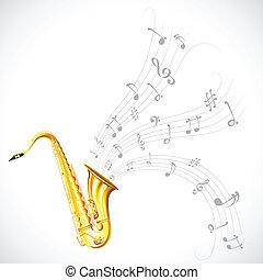 música, saxofone, melodia