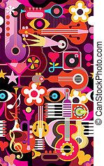 música, seamless, papel pintado