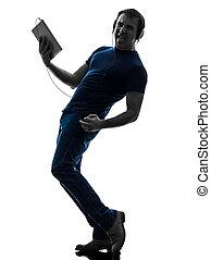 música, silueta, homem digital, tabuleta, escutar