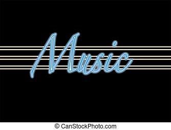 música, sinal néon
