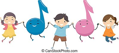 música, stickman, salto, crianças, ilustração, notas
