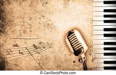 música, sujo, fundo