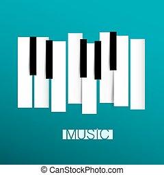 música, -, teclado del piano, símbolo, ilustración