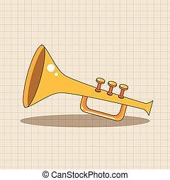 música, tema, elementos, trompeta, vector