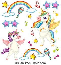 música, tema, unicornio, lindo