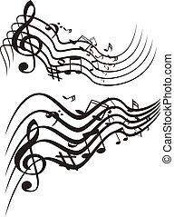 música, theme., vetorial, illustration.