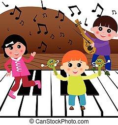 música, tocando, crianças