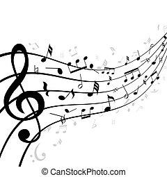 música, travesaño, personal, o, notas