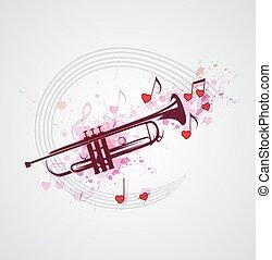música, trompete, fundo