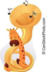 música, tuba, jirafa, mascota