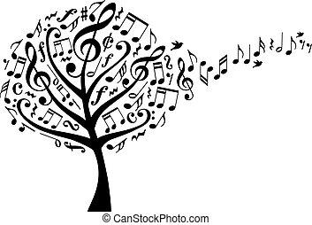 música, vector, árbol, notas