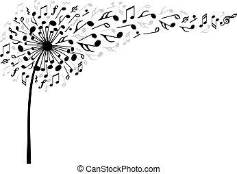 música, vector, flor, diente de león