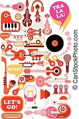 música, vector, ilustración