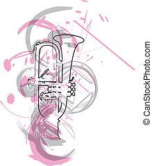 música, vector, instrument., ilustración