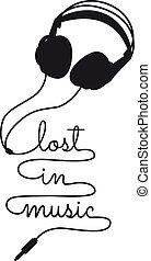 música, vector, perdido, auricular