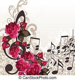música, vector, plano de fondo, con, clave de sol, y, rosas, para, diseño