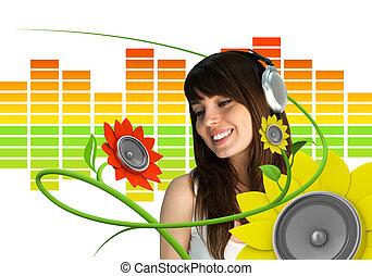 música, ventilador, jovem, feliz