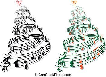 música, vetorial, árvore, notas