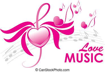 música, vetorial, amor, ilustração