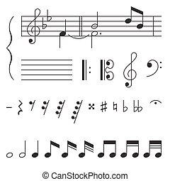 música, vetorial, clef, elementos, nota