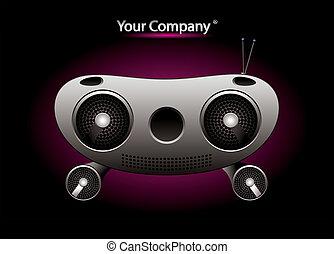 música, vetorial, editable, rádio