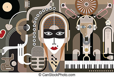 música, vetorial, -, ilustração