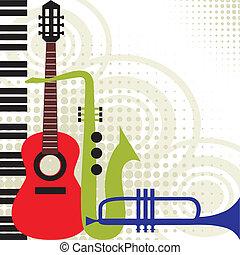 música, vetorial, instrumentos