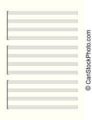 música, vetorial, notação, folha branco, voz, ou, solo, ...