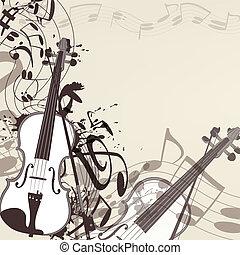 música, vetorial, violino, fundo