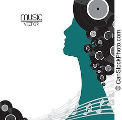música, vinilo, cartel