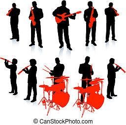 música, vivo, colección, banda