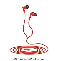 música, wired, vermelho, fone