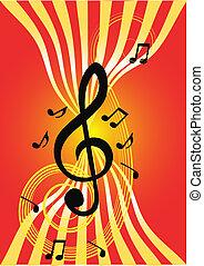 música, y, ondas, en, rojo, fondo.