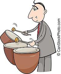 músico, baterista, ilustração, caricatura
