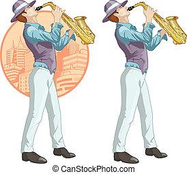 músico, carácter, retro, caricatura