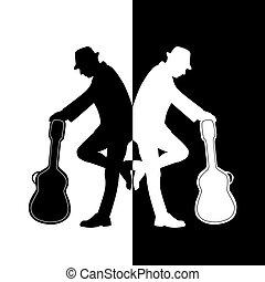 músico, com, guitarra, vetorial
