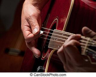 músico, em, a, estúdio
