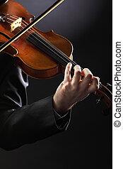 músico, experiência escura, violino, violinist:, tocando