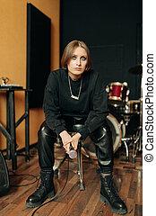 músico, gravando, jovem, estúdio