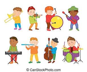 músico, ilustração, caricatura, vetorial, música, crianças,...