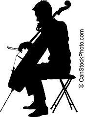 músico, ilustração, cello., silhuetas, vetorial, tocando