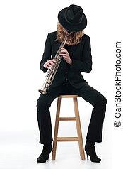 músico jazz, senhora
